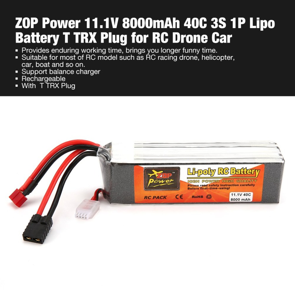 ZOP Power 11.1V 8000mAh 40C 3S 1P Lipo Battery T TRX Plug Rechargeable for RC Racing Drone Quadcopter Helicopter Car Boat 2018 new rechargeable zop power 11 1v 8000mah 3s 40c lipo battery xt60 plug with battery alarm for rc drones fpv quadcopter diy