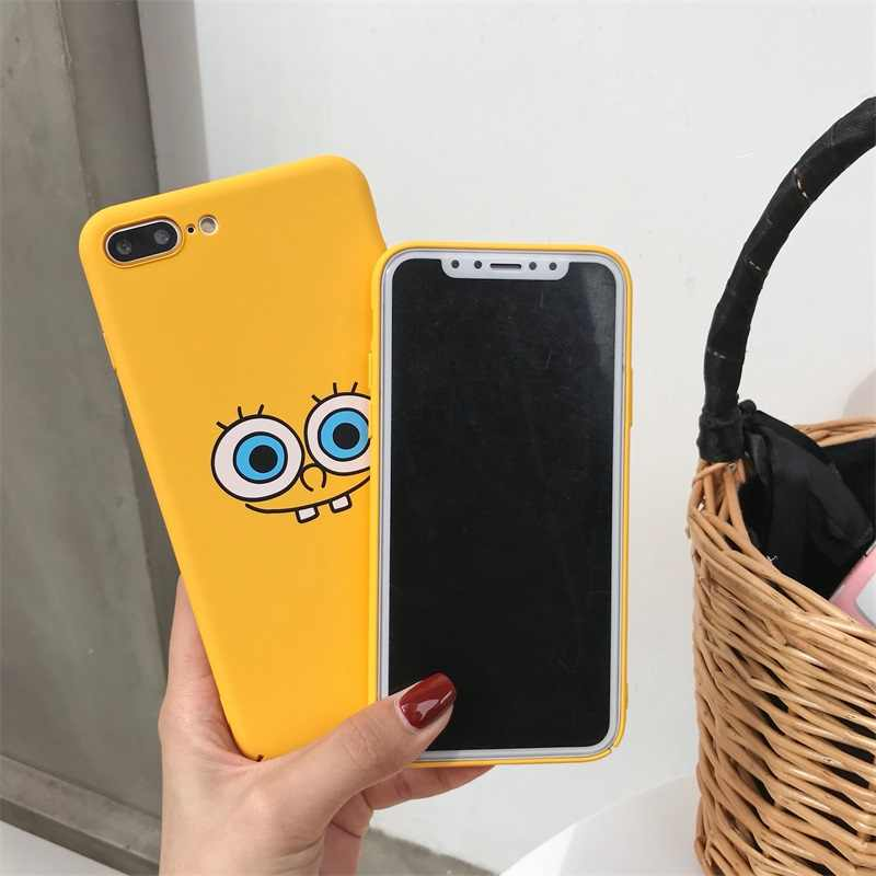 new products d43bb 5530e Funny Spongebob Emoji Yellow Matte PC Hard Cases for iPhone X Phone Case  For iPhone 6s 6 7 8 Plus Coques Frosted Fundas