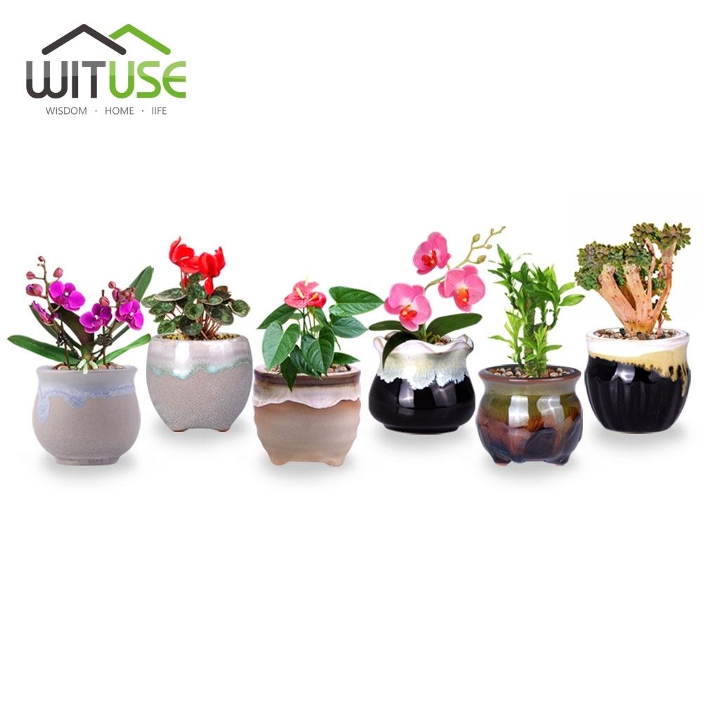 Wituse 6 шт. мини течет глазированные Керамика кашпо творческий милый цветочный сад цветочные горшки для украшения дома