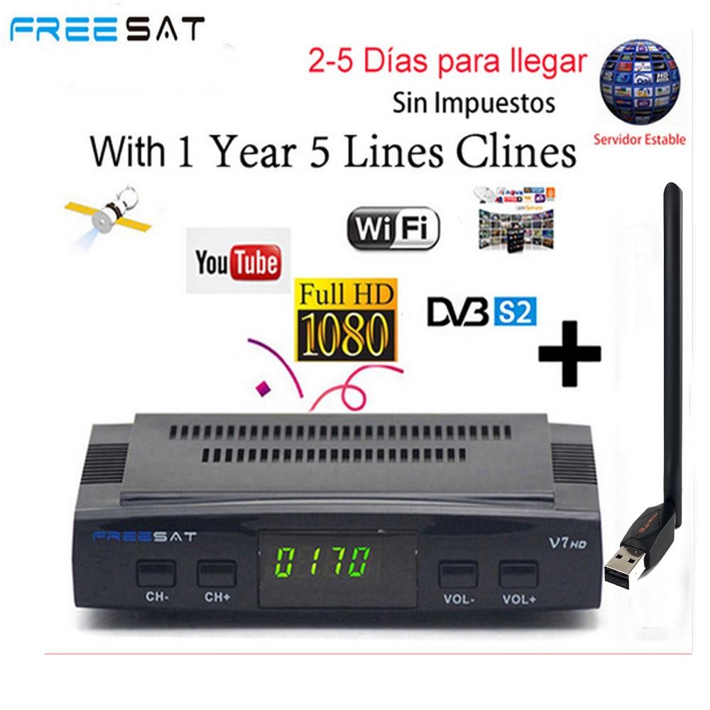 V7 Freesat HD 1080P com WIFI USB FTA Receptor DVB-S2 1 Ano Cccam Cline para 1 Ano CONJUNTO TV caixa como Gtmedia v8 nova v7s hd YouTube