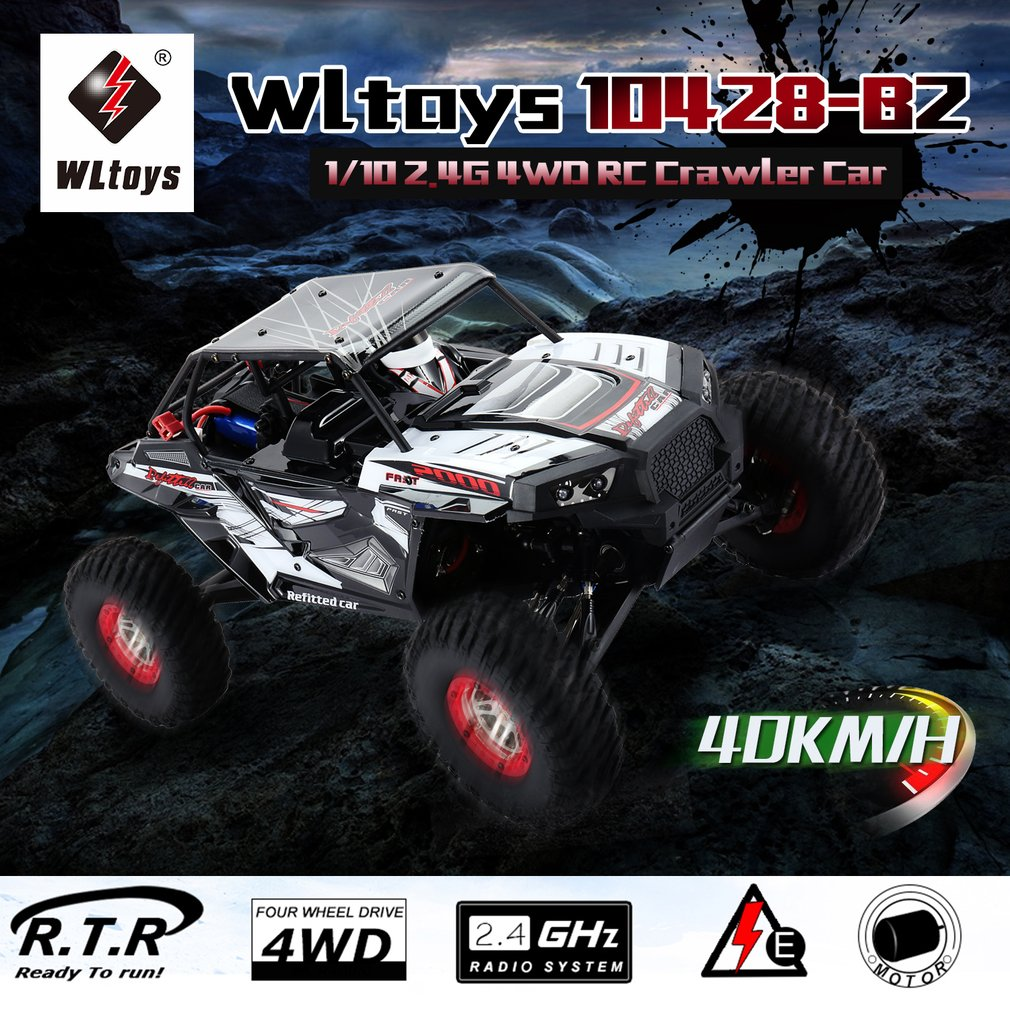 RC 1/10 2.4G 4WD Electric Rock Climbing Crawler RC car Desert Truck Off-Road Buggy Vehicle with LED Light RTR Vehicle 10428-B2 waterproof design rc cars 1 12 waterproof rc crawler desert truck car rtr rough roads desert off road climbing car electric toys