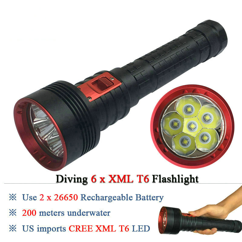 New 6T6 Powerful scuba flashlights diving flashlight led CREE XML T6 26650 Rechargeable Battery Portable Underwater Lights torch powerful underwater flashlight led scuba diving lanterna xml l2 waterproof led torch dive light 18650 26650 rechargeable battery
