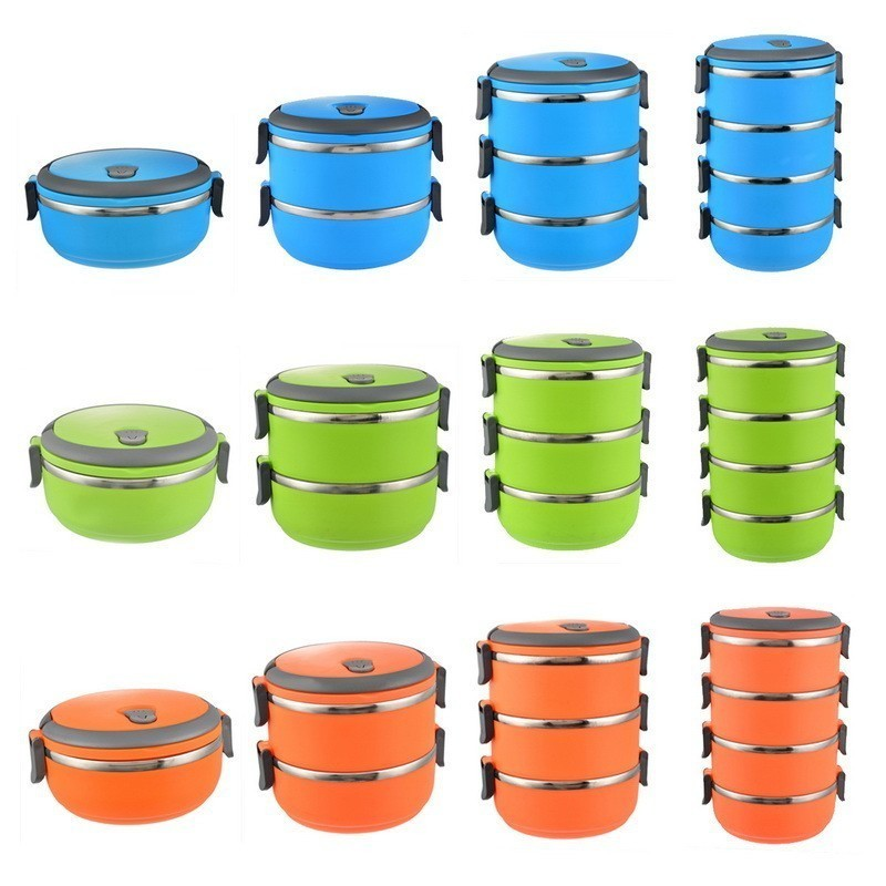 Stainless Steel Lunch Box Bento Portable Insulated Picnic Storage Thermal Multi-layer 1-4 Layers Insulation With Cover Soup Bowl