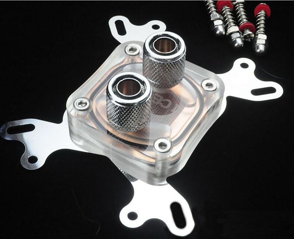 все цены на  2016 New acrylic CPU Water Cooling Block Copper base Liquid Cooler with 2pcs kuaining fitting  онлайн