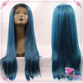 New Mixed Blue & Green Silk Straight Synthetic Lace Front Wig Glueless Natural Black to Green/Blue Heat Resistant Hair Wigs