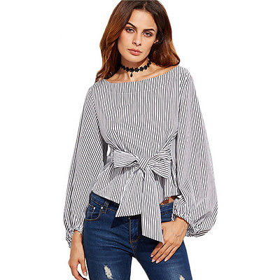 Off Shoulder Blouses Women Striped Sexy Oblique Long Sleeve Bandage Plus Size Blouse Shirts Top Female Blousa