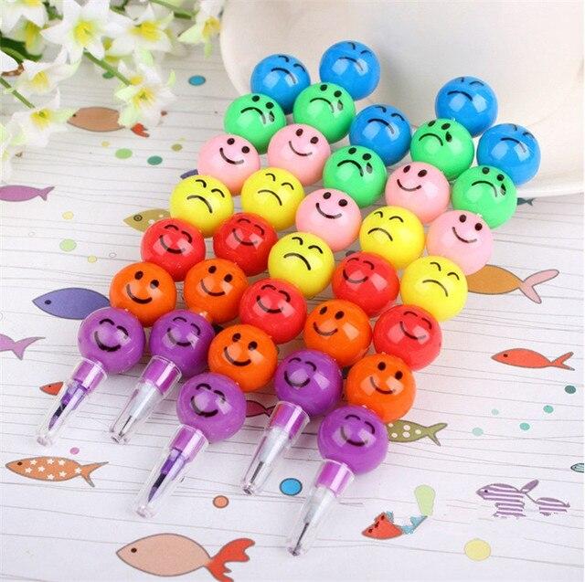 500 pcs smiley cartoon colored pencil wholesale rainbow crayon lead
