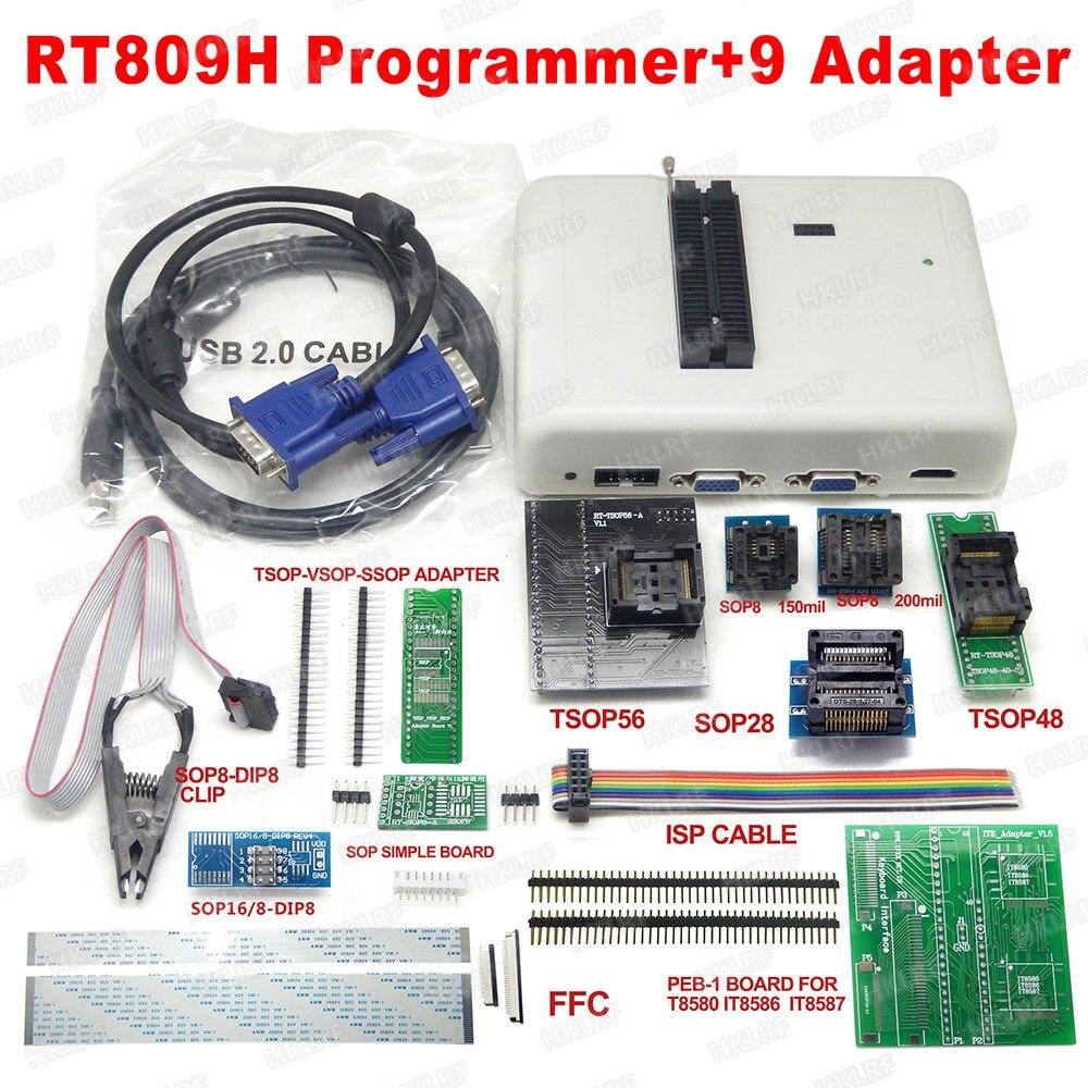 100 Original RT809H EMMC Nand FLASH Programmer 9 adapters With BGA48 BGA63 BGA64 BGA169 Adapter Free