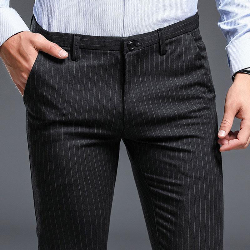 Men's Work Dress Black Striped Skinny Pants Fashion Korean ...