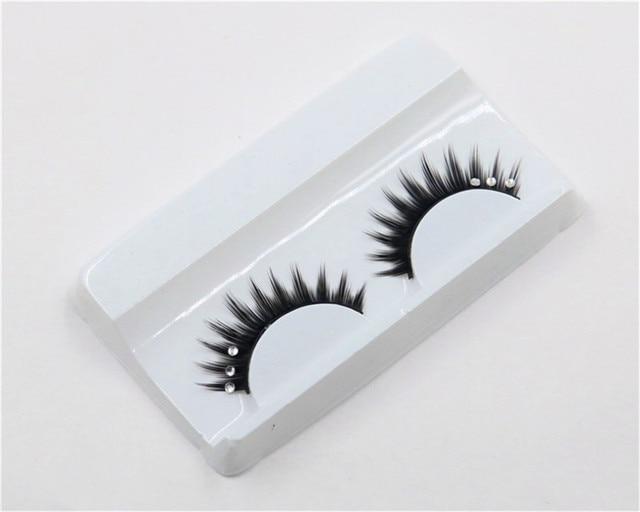 1 Pair Rhinestones False Eyelashes 3D Crossing Natural Exaggerated Fashion Glitter Lashes Women Lady Makeup Tools 1
