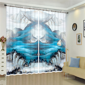 Snow Mountain White Clouds 3D Curtains Printing Blackout Curtains Living Room 3D curtains home decor Smooth drape curtain