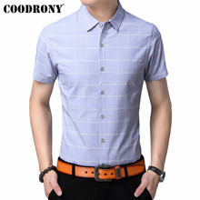 COODRONY Brand Soft Cotton Men Shirt 2019 Summer Cool Short Sleeve Clothes Classic Plaid Business Casual Shirts S96060