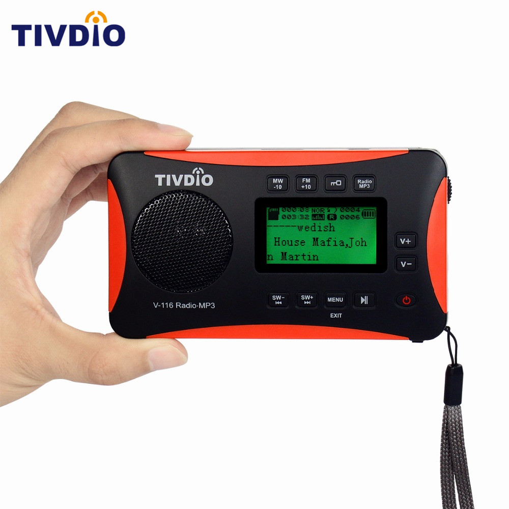 TIVDIO V 116 Portable Radio FM MW SW World Receiver USB SD Card With MP3 Player