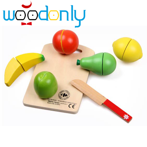 Wooden Happy Toys for children  Food Fruit and Vegetable Cutting Set Colorful Pretend Play Kitchen toys oyuncak