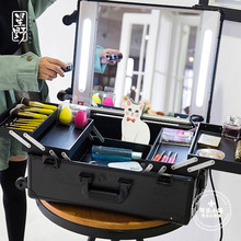 Aluminum Professional Trolley  Makeup Case with lights Beauty Case with inner light tube Portable makeup Box with Lights