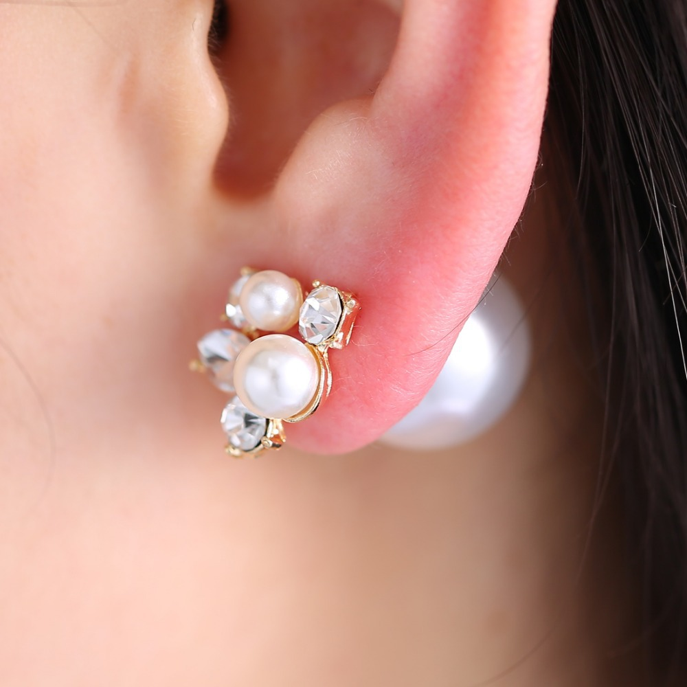 1pair Fashion Trendy Double Sides Pearl Earring Two Ball Stud ...