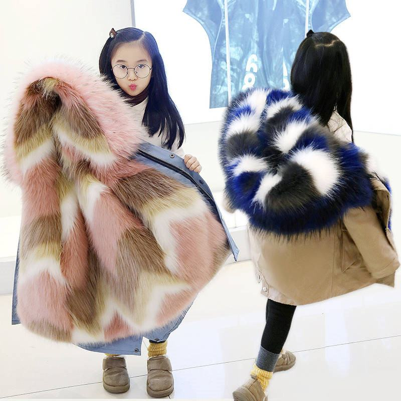 2019 Fashion Children Coat Clothes Faux Fox Fur Coat Kid Boys Girls Hooded Thick Warm Jacket Teen Boy Girl Outerwear Parka Q489