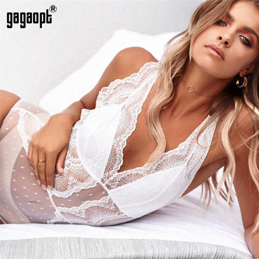 Gagaopt 2018 Summer Lace Bodysuit Women Embroidery Mesh Patchwork Sexy Bodysuit Fashion Jumpsuit Overalls