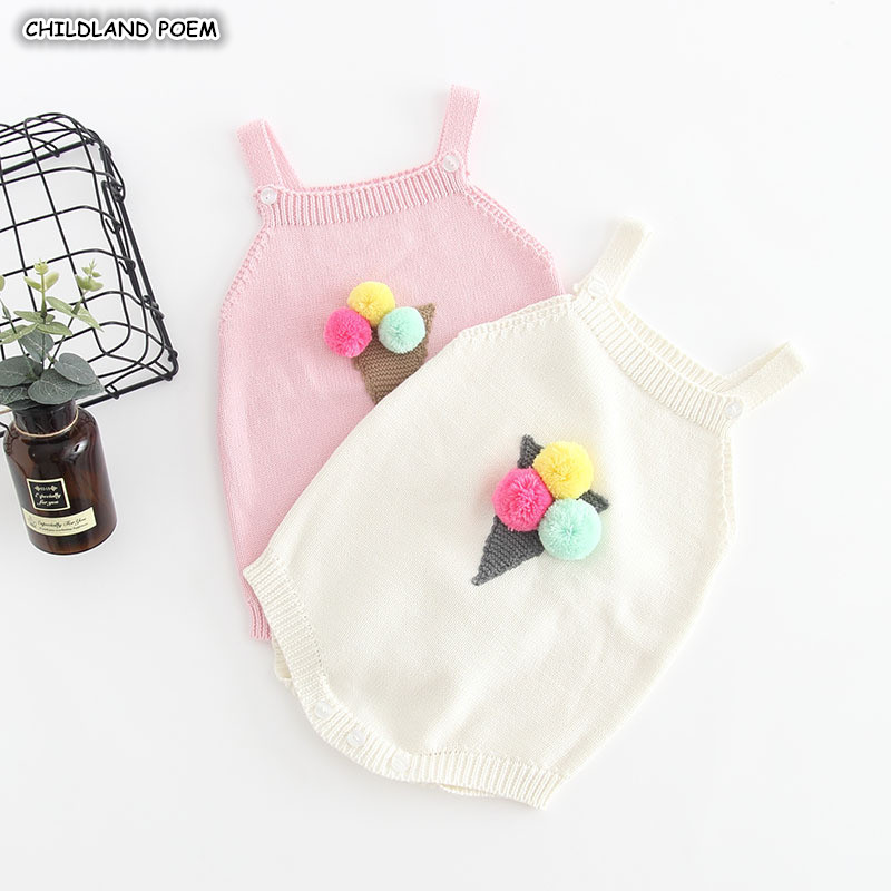 Knitted Baby Clothes Newborn Baby   Romper   Girl Cotton Ice Cream Pompom Baby Jumpsuits Sleeveless Baby Girls   Romper   Boys Jumpsuit