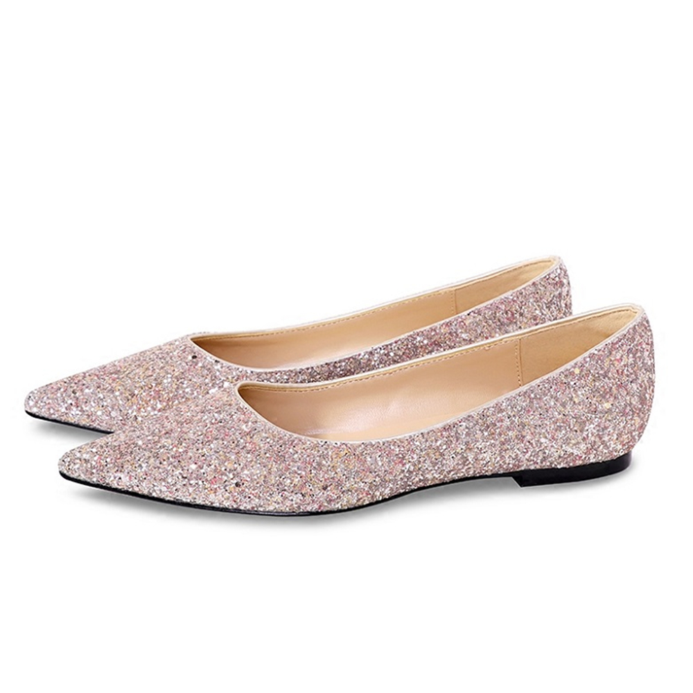 New Wedding Sequins Flat Women's Shoes Female Pointed Single Flat And Shallow Gold Pink Brides Bridesmaids And Banquet Shoes.
