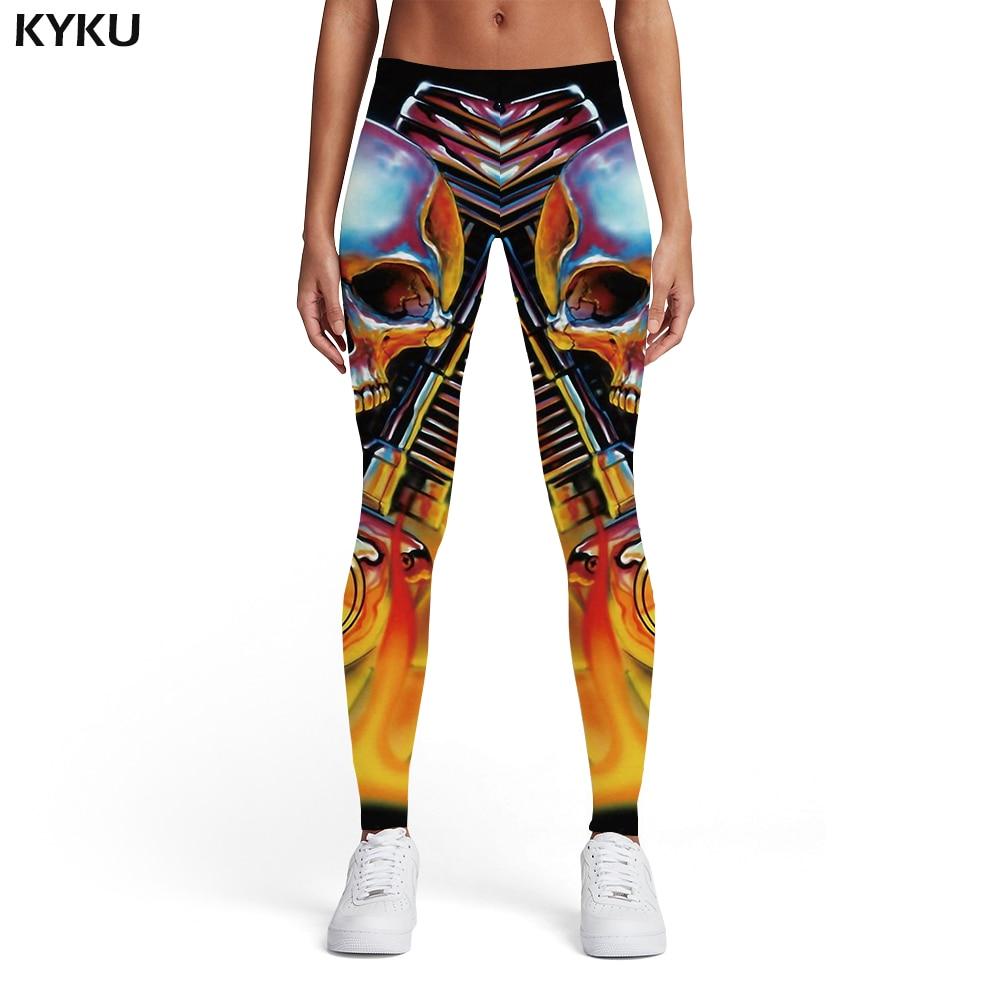 KYKU Skull   Leggings   Women Metal 3d Print Motorcycle Elastic Mechanical Leggins Flame Printed pants Womens   Leggings   Pants