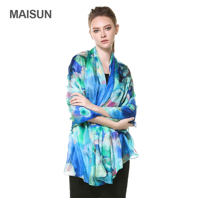 [MAISUN] 100% Silk Woman Shawl Large Size Pure Silk Paj Scarf Fashion Country Style Lady Scarves
