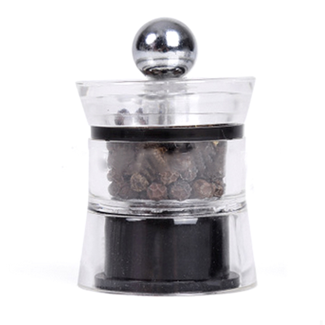 2pcs Mini Salt And Pepper Mill Glass Body Spice Grinders Acrylic Manual Salt Pepper Mills Silver Grinder Kitchen Cooking Tools