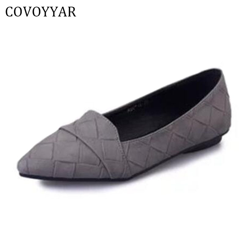 COVOYYAR 2018 Fashion Plaid Pattern Women Shoes Spring Fall Pointed Toe Women Loafers Ballet Flat Lady Slip On Footwear WFS271 hot sale 2016 new fashion spring women flats black shoes ladies pointed toe slip on flat women s shoes size 33 43