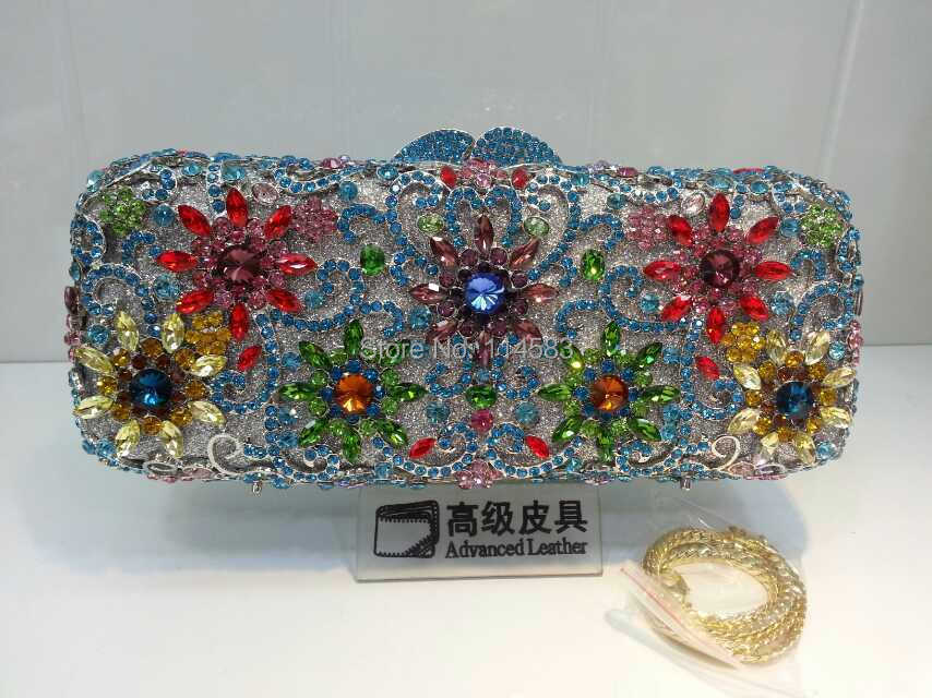ФОТО 8126L Multicolor-B Crystal Flower Floral Bridal Party hollow Metal Evening purse clutch bag handbag