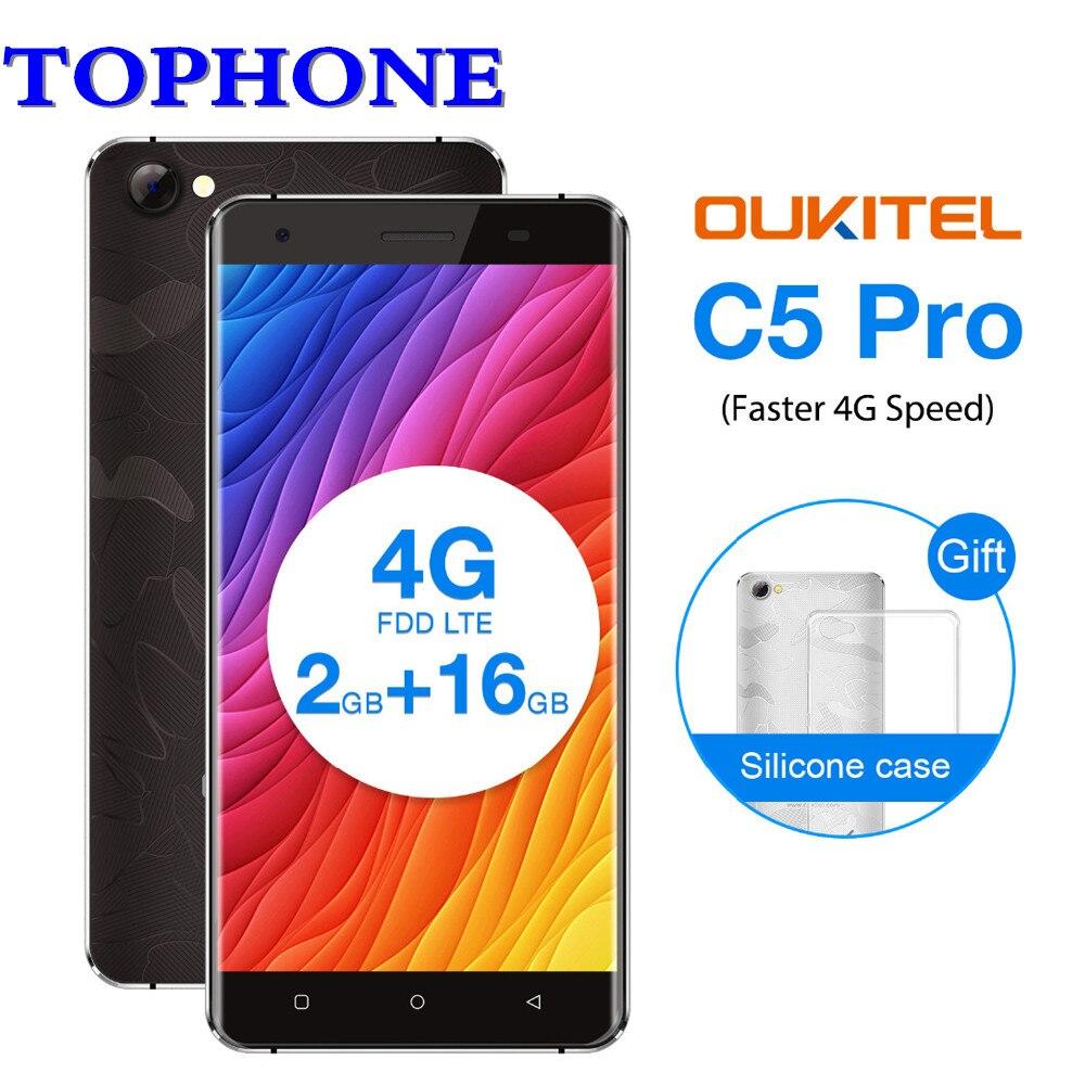 D'origine Oukitel C5 Pro 5.0 HD Mobile téléphone Android 7.0 MTK6737 Quad Core téléphone portable 2 gb RAM 16 gb ROM 8MP 4g LTE smartphone
