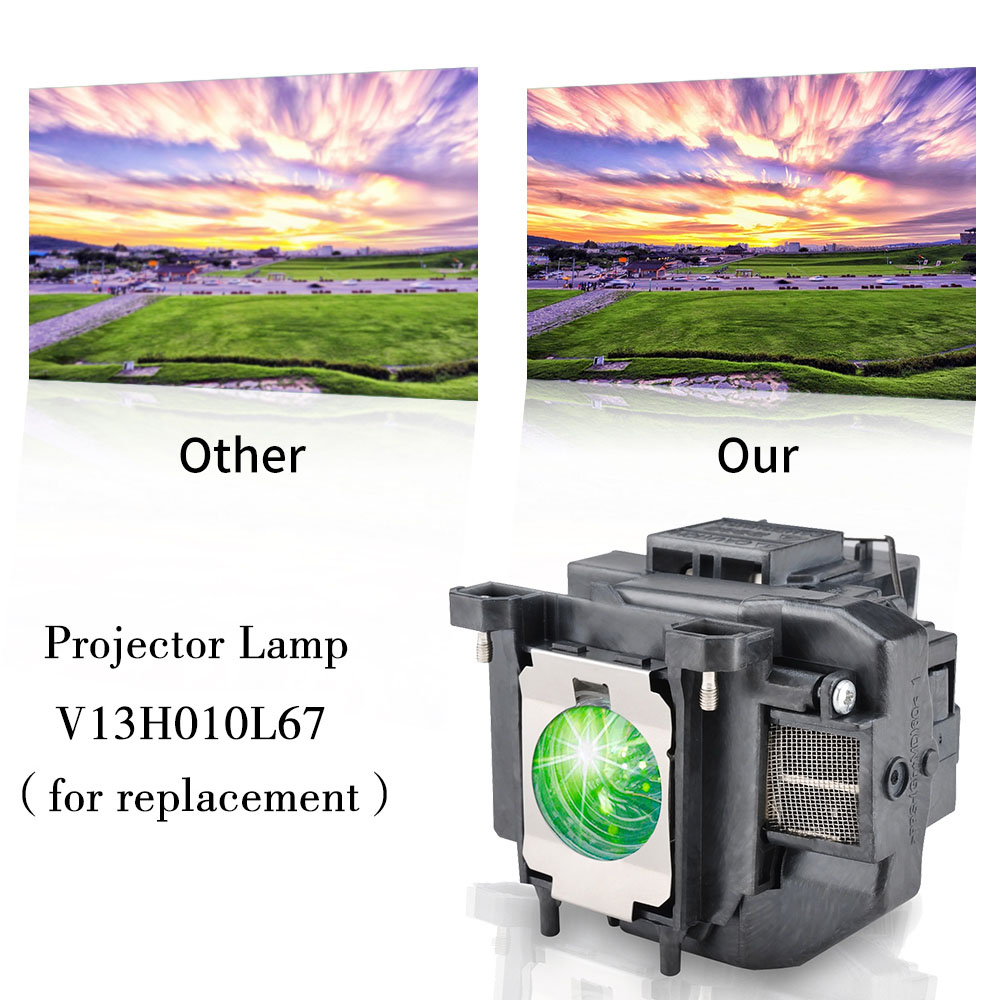 Image 2 - HAPPYBATE ELPLP67 Projector lamp with Housing for HC710HD/Megaplex MG 50/MG 850HD EB C250W EB C15S EB C05S/EB W12/EB C35X/C215S-in Projector Bulbs from Consumer Electronics