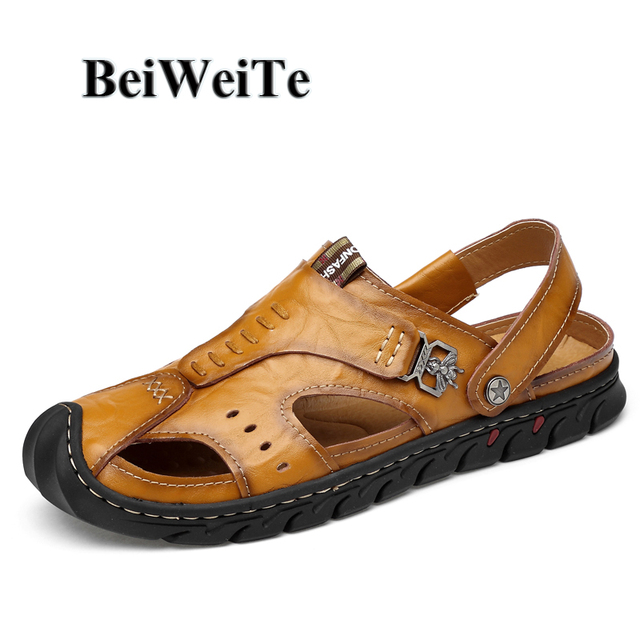 Beiweite Summer Men S Adjule Outdoor Sandals Slippers Genuine Leather Beach Shoes Man Closed Toe Anti