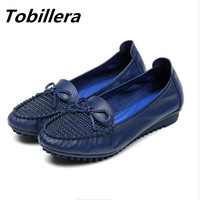 Tobillera 100 Real Leather Mothers Slip On Flats In Navy Blue Black Fashion Rhinestone Upper Soft
