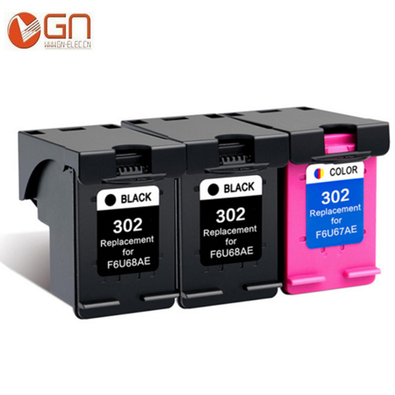 GN 3pk 302XL refilled <font><b>printer</b></font> <font><b>ink</b></font> cartridges for <font><b>HP</b></font> 302 XL For <font><b>HP</b></font> <font><b>Deskjet</b></font> <font><b>2130</b></font> 2135 1110 3630 3632 Officejet 3830 3834 4650 image