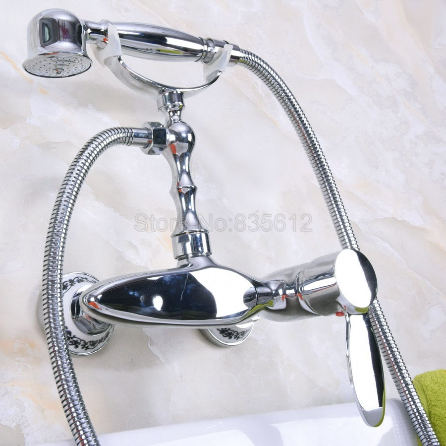 Wall Mounted Polished Chrome Bathtub Faucets Bathroom Basin Mixer Tap With Hand Shower Head Bath & Shower Faucet tna178 wall mounted bathtub faucet double handle polished chrome mixer tap bath shower faucets with hand shower nna188
