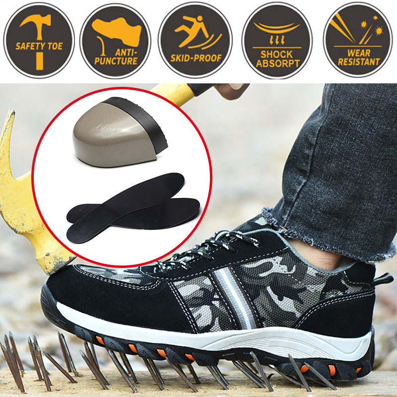 Safety Shoes Booots Men's Steel Toe Cap Anti-smashing Shoes Anti-puncture For Construction Mountain Breathable Knit Fabric
