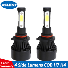 ASLENT New 4 Side Lumens COB 100W 12000lm H4 H7 H11 9005 9006 9007 9004 9012 Car LED Headlight Bulbs Auto Led Headlamp Light 12v new 4 side 10000 lumens h7 led cob 100w h4 hi lo h11 9005 9006 car led headlight bulbs auto led headlamp led car light 12v 24v