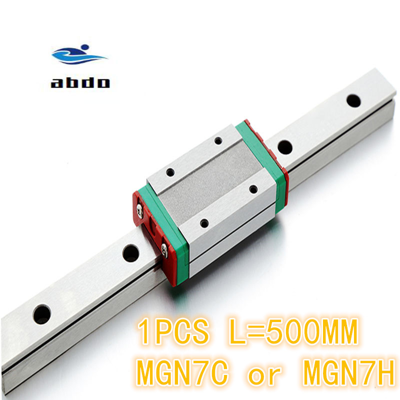 High quality 1pcs 7mm Linear Guide MGN7 L= 500mm linear rail way + MGN7C or MGN7H Long linear carriage for CNC XYZ AxisHigh quality 1pcs 7mm Linear Guide MGN7 L= 500mm linear rail way + MGN7C or MGN7H Long linear carriage for CNC XYZ Axis