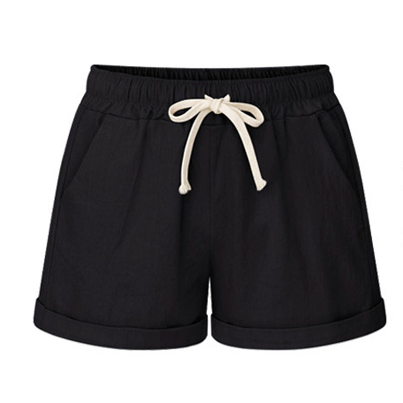 Hot Summer Women Wide Leg Shorts Cotton High Waist Drawstring Pockets Girl Casual Shorts Plus Size M-6XL CGU 88