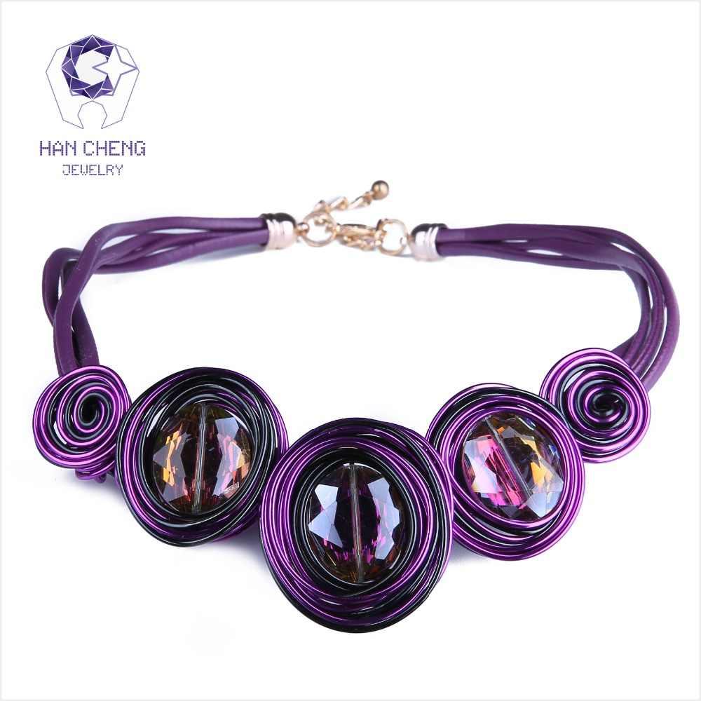 HanCheng חדש אופנה עור חבל נוצר קריסטל חוט קולר שרשרת נשים שרשראות בעבודת יד תכשיטי הצהרת צווארון bijoux