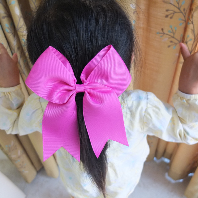 6 Inch Cheer Bow WITH Elalstic Loop Large Hair Ponytail Leading Headwear