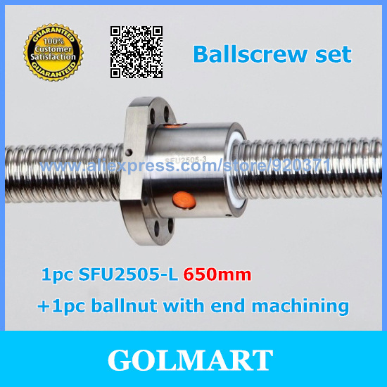 Zero Backlash guide Ball screws 2505 L 650mm 1pcs SFU2505 single ballnut for CNC with end