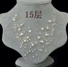 15 Слой Белый Розовый Фиолетовый Зеленый Настоящее пресной воды жемчужина Starriness Ожерелье Невесты Свадебные Цепи звездное небо Подвески Ожерелье