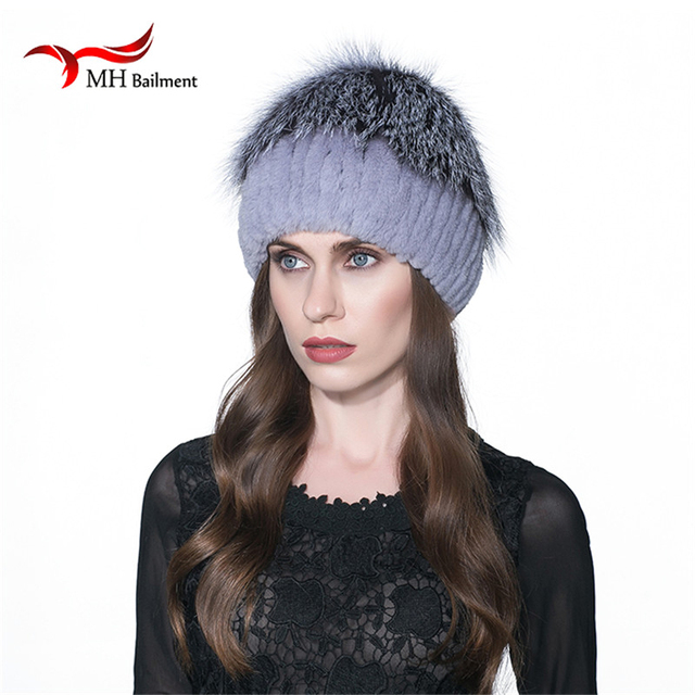 MH Rex Rabbit Fur Winter Hats Female For Women Vintage Flower Top Casual Solid Knitted Caps Skullies Beanies W#19