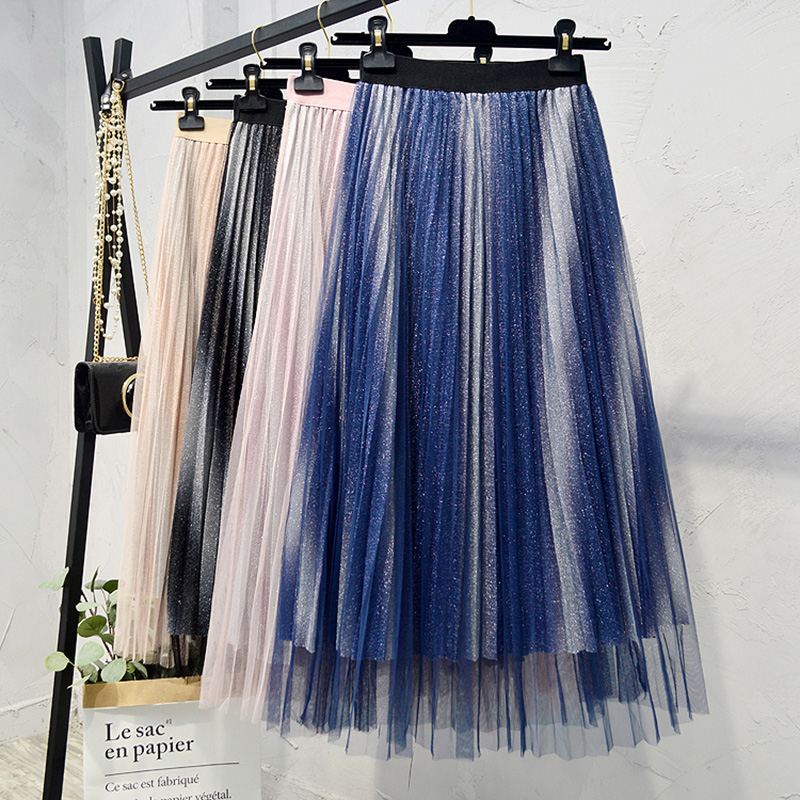 2019 Summer Skirts Womens Fashion Gradient Color Mesh Tulle Skirts Women Elastic High Waist A Line Mid Calf Midi Pleated Skirt