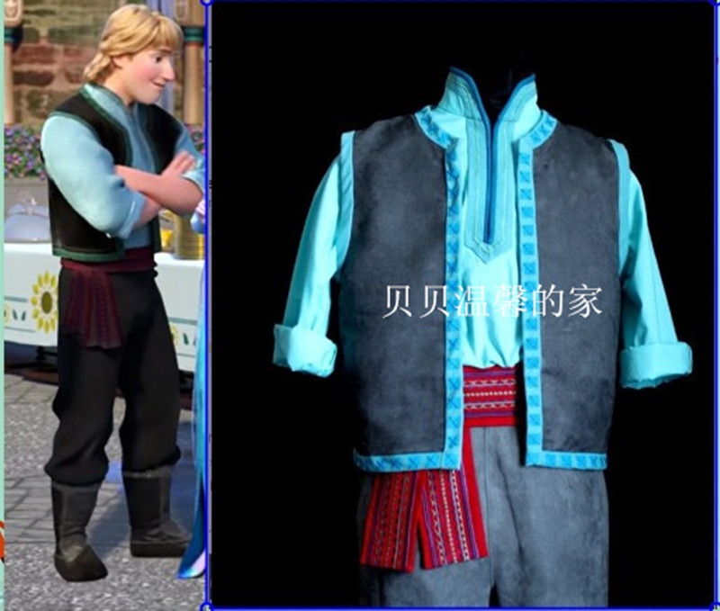 Movie Froze Kristoff Costume Snow Princess Farmer Kristoff Outfits Halloween Role Play Party DRESS