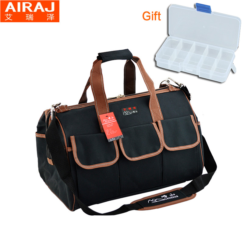 AIRAJ 12 12.59*8.66*5.51inch Pocket Tool Bag Storage Canvas Multifunctional Electrician Waterproof Oxford  Handbag With Belt fasite canvas tool bags for electrician with laptop bag handbag oxford fabric multi function tool bag free shipping