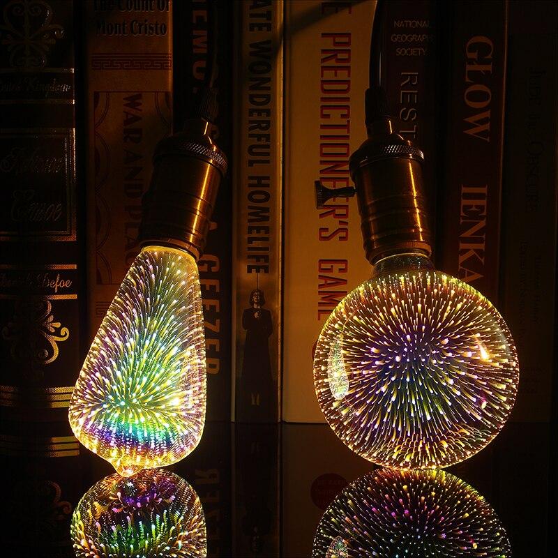 Led Light Bulb E27 3D Decoration Bulb AC110V 220V Holiday Colorful Light ST64 G95 A60 G80 G125 Novelty Lamp Christmas Decoration