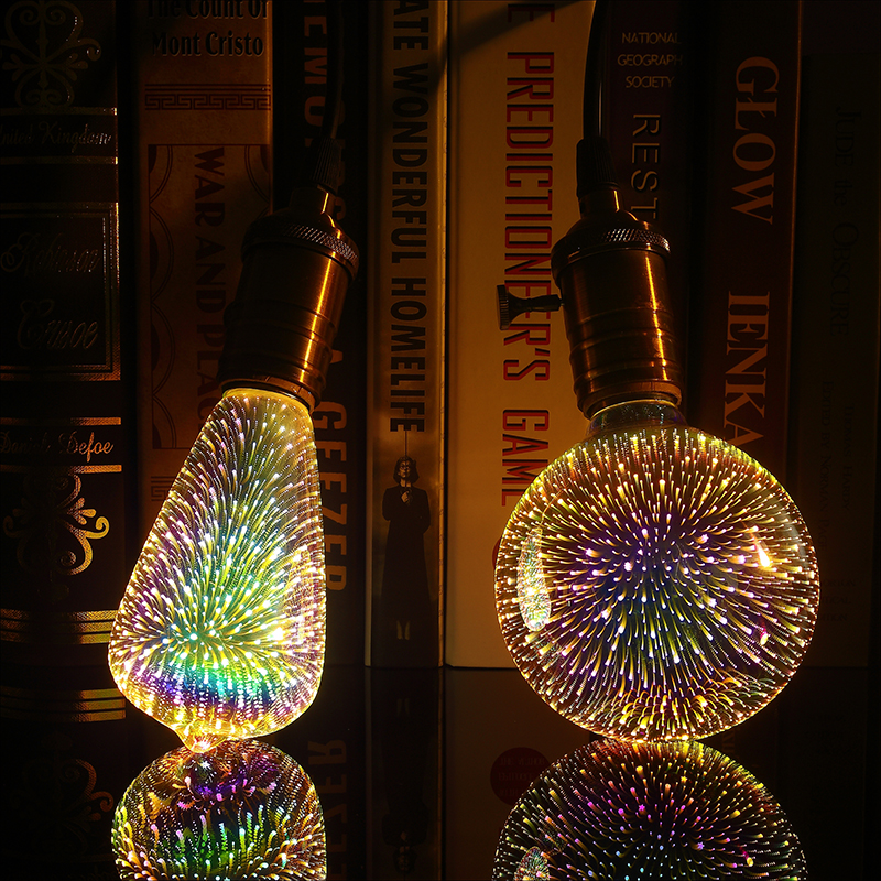 Led Light Bulb E27 3D Decoration Bulb AC110V 220V Holiday Colorful Light ST64 G95 A60 G80 G125 Novelty Lamp Christmas Decoration