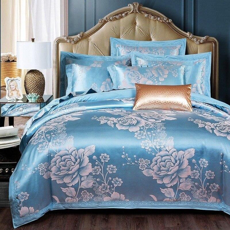 2.2*2.4M Comforter Bedding Sets Tencel Silk Luxury Duvet Cover Bed Sheet Hot Sale Queen King Double Blue Jacquard Bed Linens Set